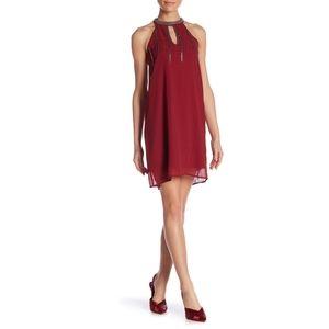 MOLLY BRACKEN California red embellished dress